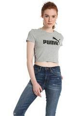 Puma Gris / Negro de Mujer modelo Tape Logo Croped Tee Deportivo Polos