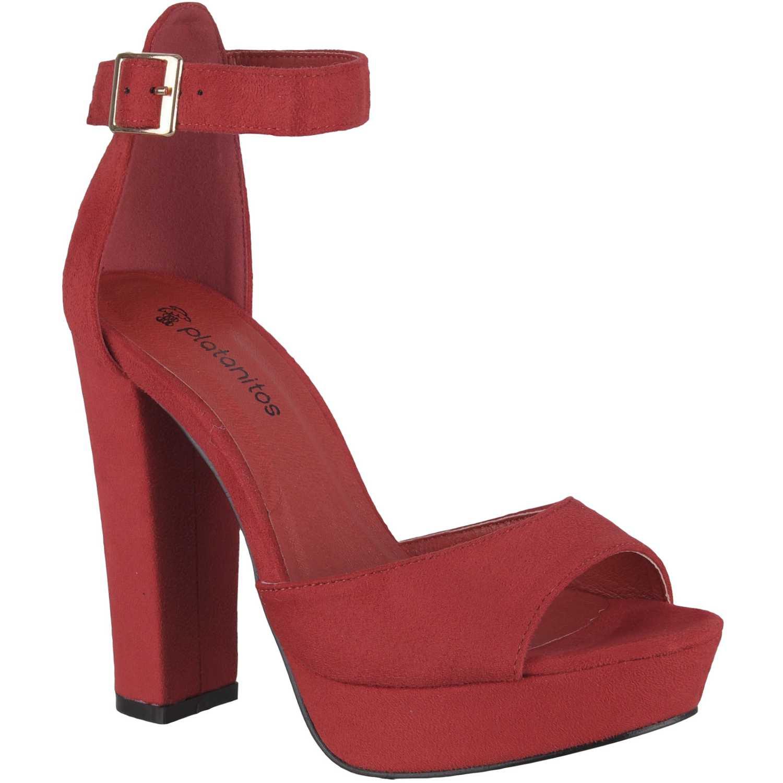 Sandalia Plataforma de Mujer Platanitos Rojo svp 6a3