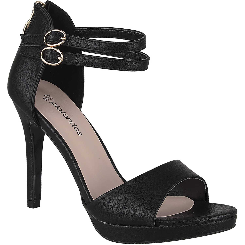 Sandalia Plataforma de Mujer Platanitos Negro svp 8683