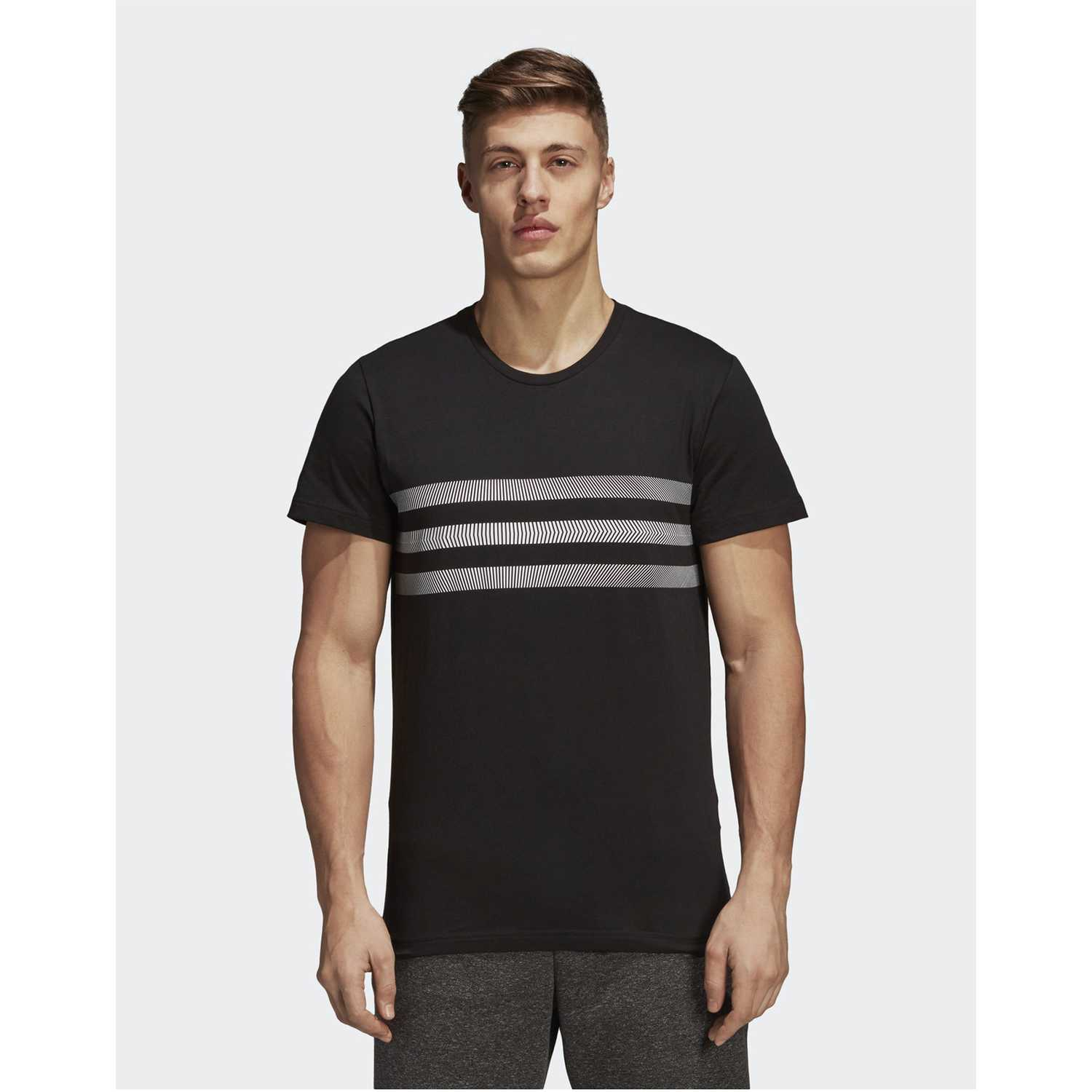 Polo de Hombre Adidas Negro three stripes