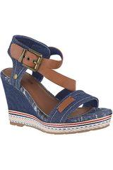 Sandalia Cuña de Mujer Platanitos Azul SPW 378