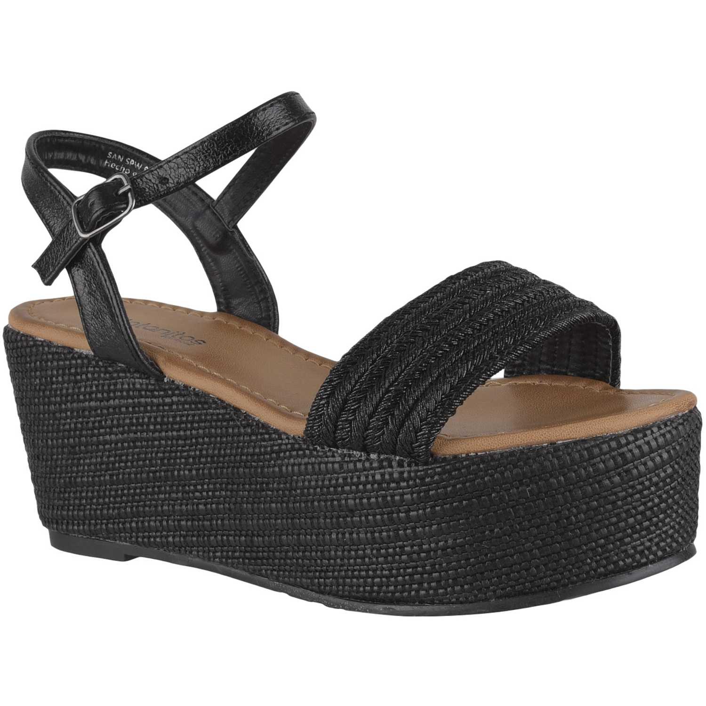 Sandalia Cuña de Mujer Platanitos Negro spw 8803