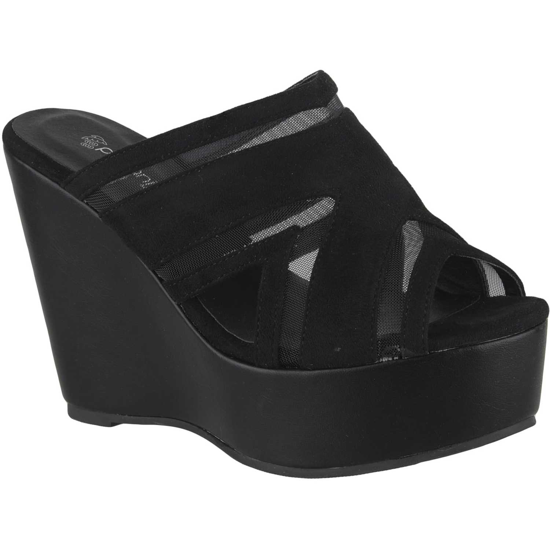 Sandalia Cuña de Mujer Platanitos Negro spw 8r20