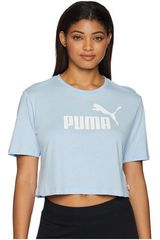 Puma Celeste / Blanco de Mujer modelo ESS+ Cropped Logo Tee Polos Deportivo