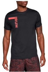 Under Armour Negro / Rojo de Hombre modelo UA RUN TALL GRAPHIC SS-BLK Polos Deportivo
