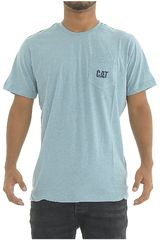 Polo de Hombre CAT Celeste TRADITIONAL POCKET TEE