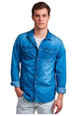 Octodenim Celeste de Hombre modelo tomás celeste Camisas Casual
