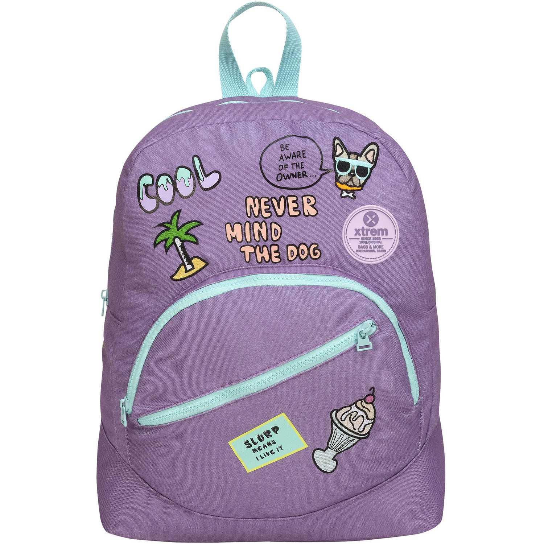 Mochila de Niña Xtrem Lila backpack patches world boomerang 809