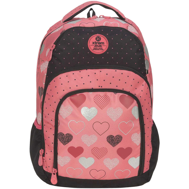 Mochila de Niña Xtrem Coral / negro backpack metallic hearts soul 811