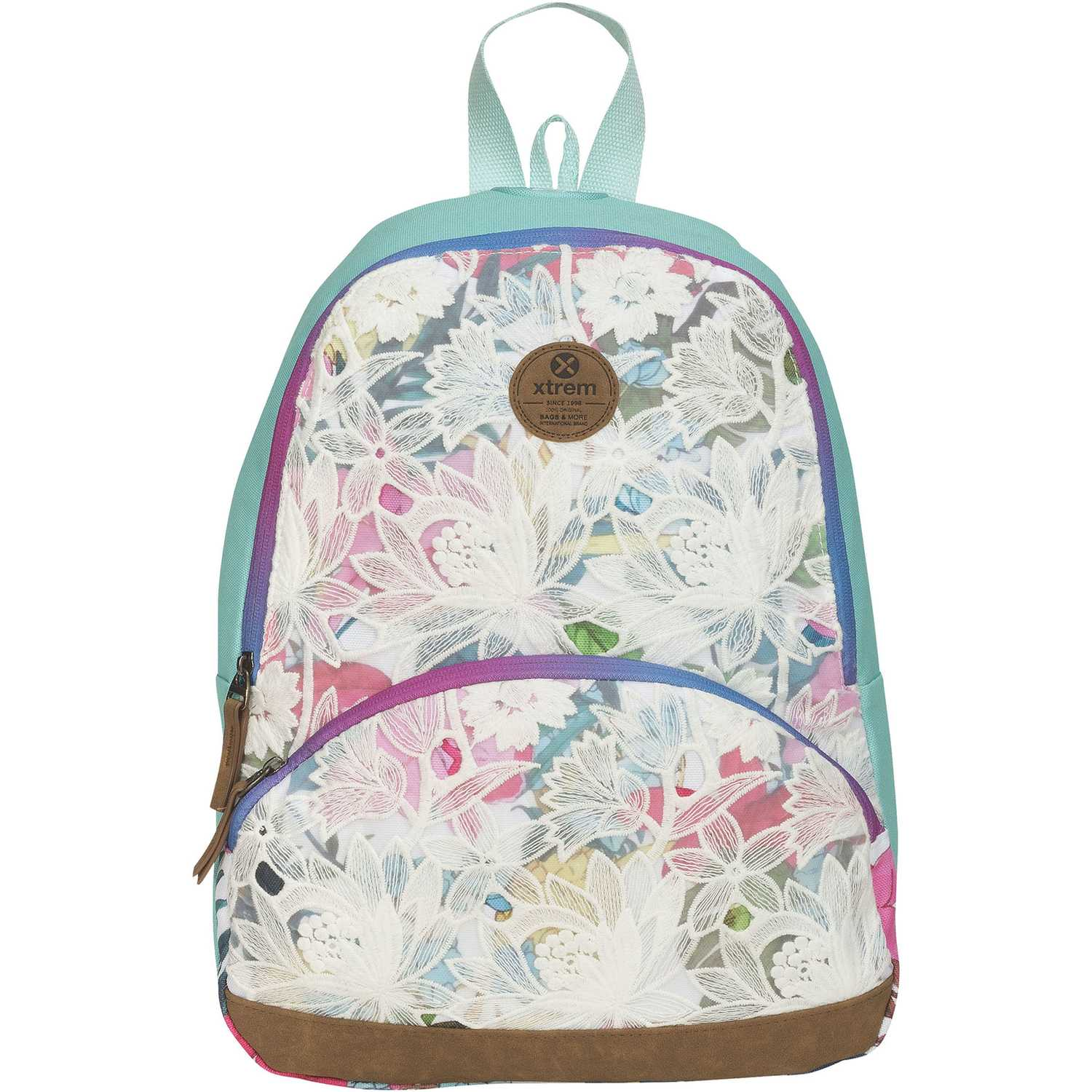 Mochila de Niña Xtrem Blanco / turquesa backpack flower jungle garden 812