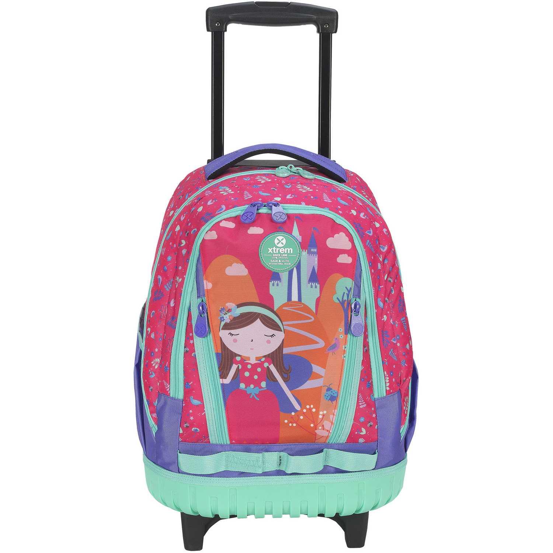 Mochila con ruedas de Niña Xtrem Fucsia backpack with wheels princess castle cross 830
