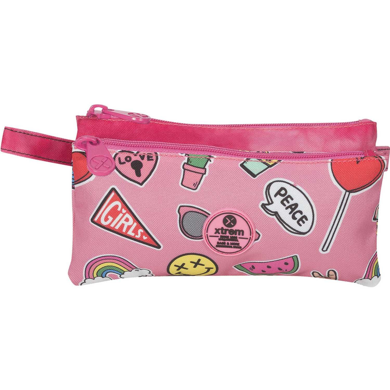 Cartuchera de Niña Xtrem Fucsia pencil box pink patches trinity 841