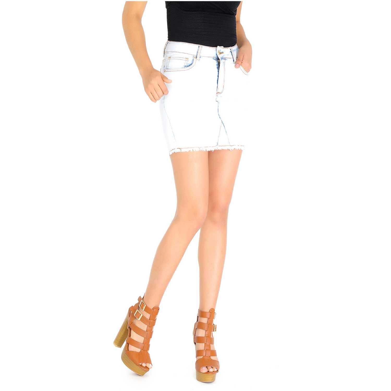 Falda de Mujer COTTONS JEANS Blanco / celeste abigail