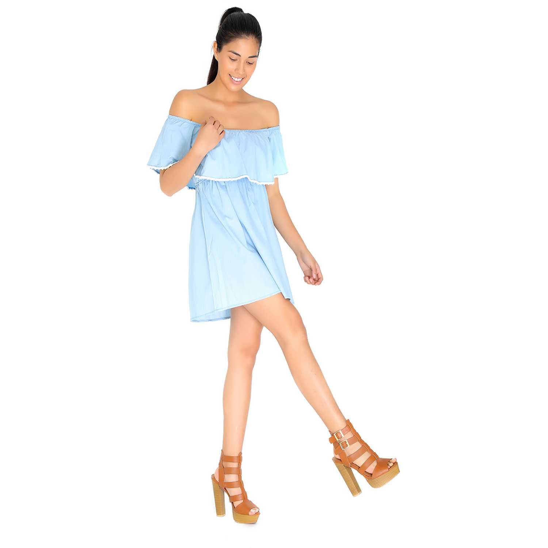 Vestido de Mujer COTTONS JEANS Celeste lidia