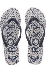 Roxy Blanco / azul de Mujer modelo tahiti flip flops Playeras Deportivo Sandalias