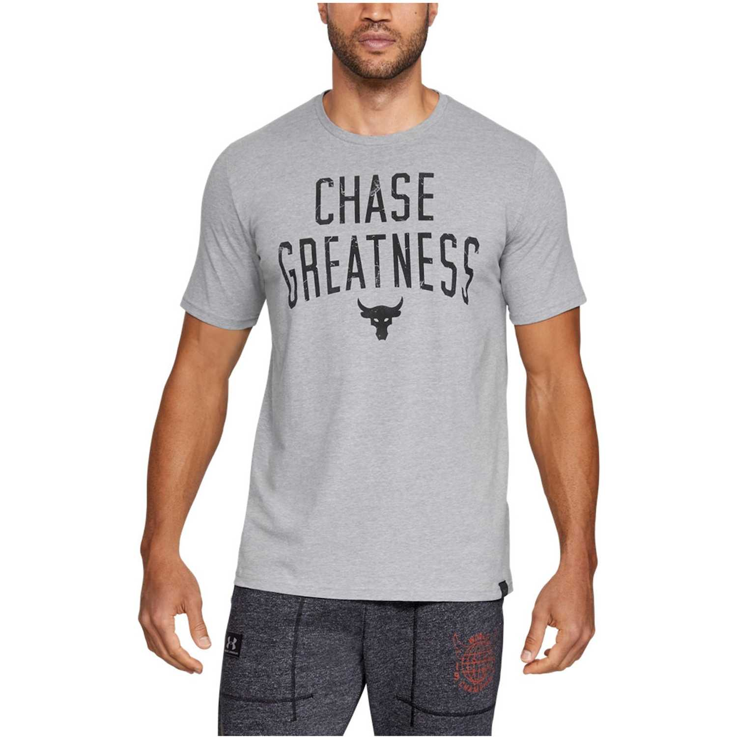 Polo de Hombre Under Armour Gris project rock chase greatness ss t-gry