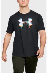Polo de Hombre Under Armour Negro glitch big logo ss-blk