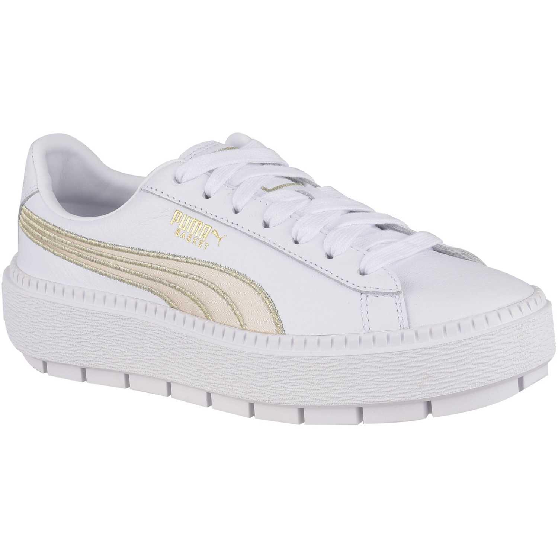 Zapatilla de Mujer Puma Blanco / dorado platform trace varsity wn's
