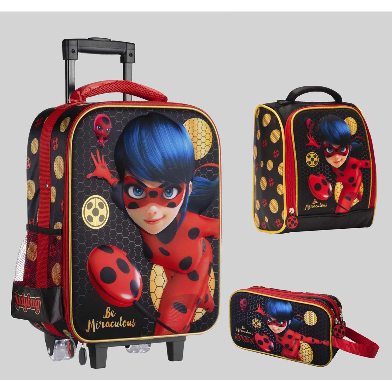 Pack mochilas de Niña Scool Negro 9 scool lady bug set eva 3d gde