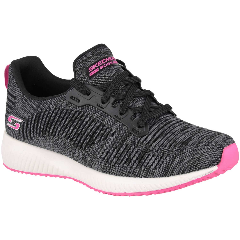 Zapatilla de Mujer Skechers Negro / rosado bobs squad