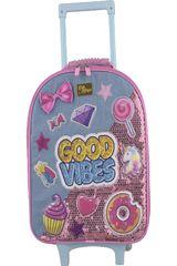 Mochila con ruedas de Niña Kiddo Rosado mochila con ruedas good vibes