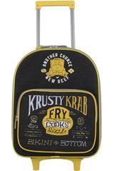 Mochila con ruedas de Niño Kiddo Negro / amarillo maleta con ruedas bob esponja negra