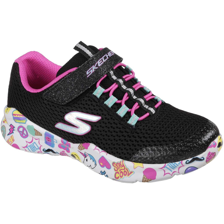 Zapatilla de Niña Skechers Negro / rosado street squad