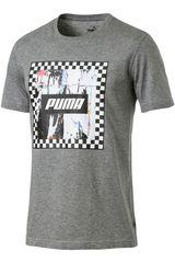 Puma Gris / blanco de Hombre modelo check graphic tee Polos Deportivo