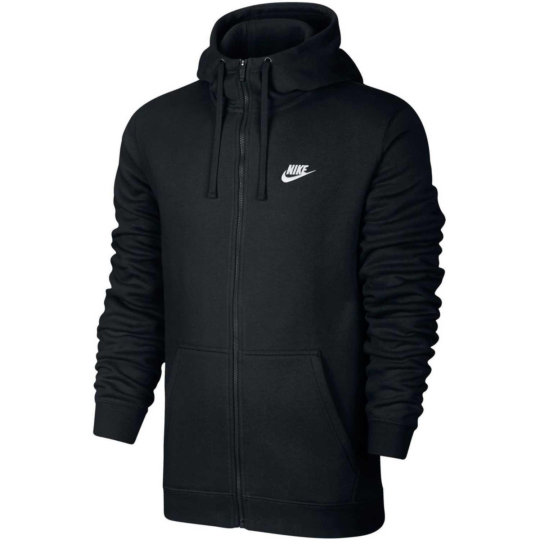 Casaca de Hombre Nike Negro / blanco m nsw club hoodie fz bb