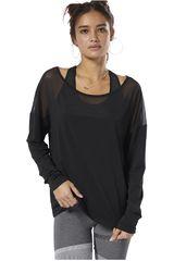 Reebok Negro / plomo de Mujer modelo d mesh long sleeve top Poleras Deportivo