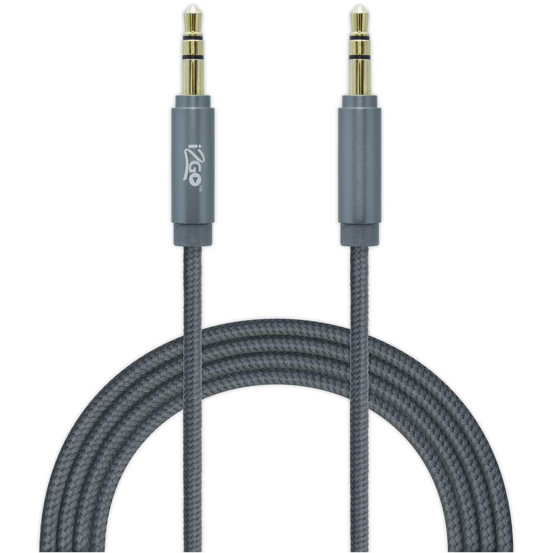 Cable auxiliar nylon  I2go Pro Gris cable aux nylon 1.5 mt gris