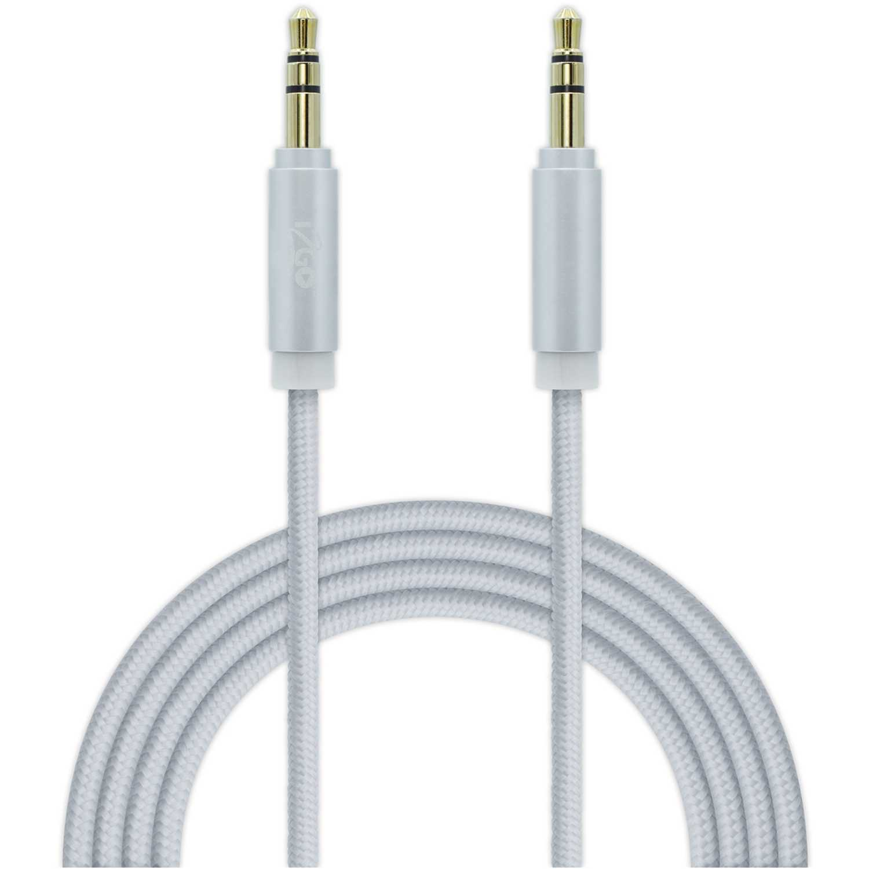 Cable auxiliar nylon  I2go Pro Plateado cable aux nylon 1.5 mt plateado