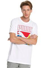 Polo de Hombre Puma Blanco graphic box logo tee