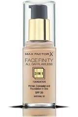 Max Factor Natural de Mujer modelo base facefinity all day flawless 3 en 1 Maquillaje Base líquida