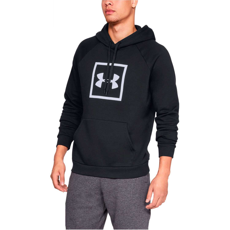 Polera de Hombre Under Armour Negro / blanco rival fleece logo hoodie-blk