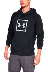 Polera de Hombre Under Armour Negro / blanco rival fleece logo hoodie-blk