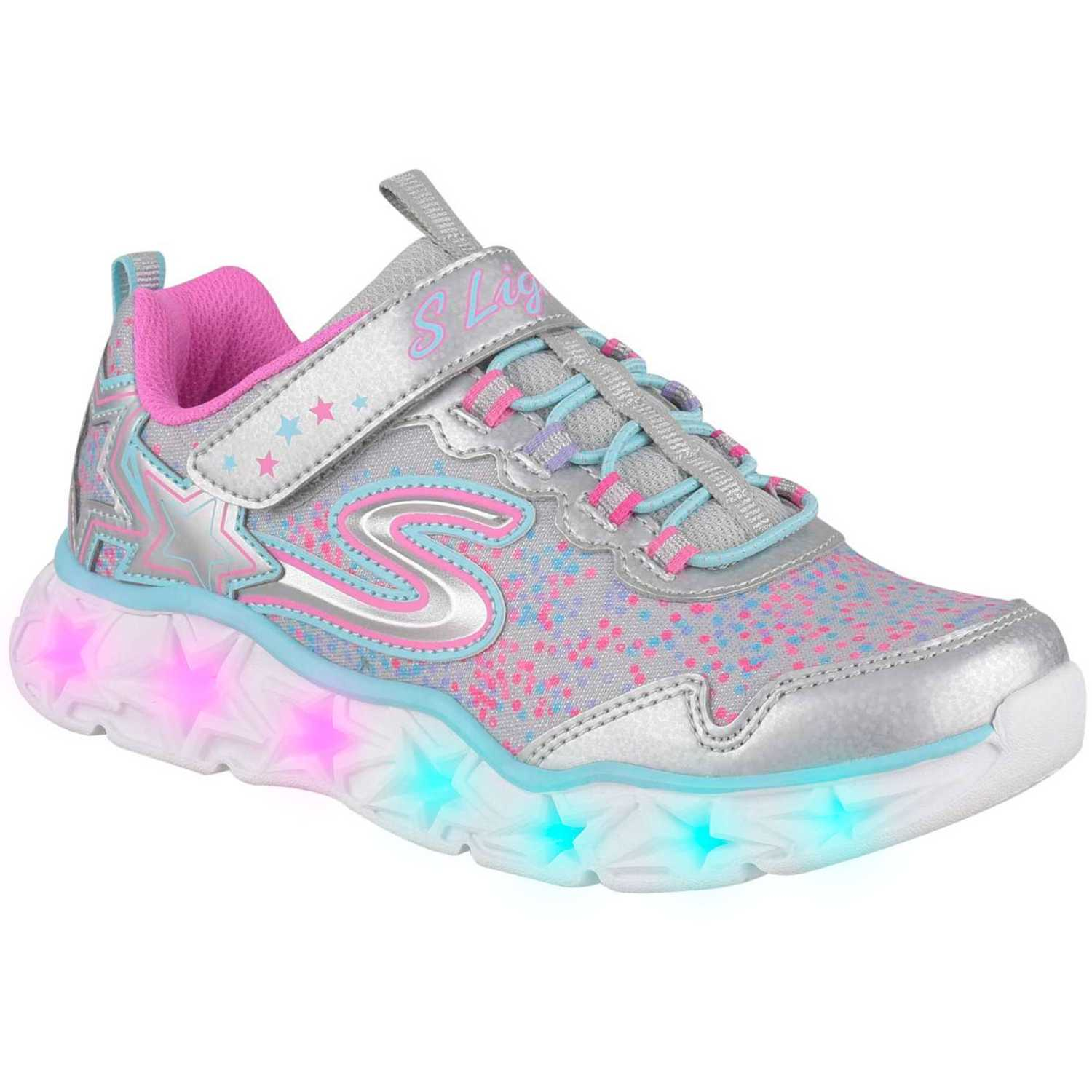 a756124d0 Zapatilla de Niña Skechers Plateado / rosado galaxy lights ...