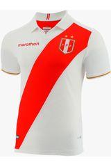 Marathon Blanco / rojo de Hombre modelo camiseta perú copa américa 2019 estadio Polos Camisetas Deportivo